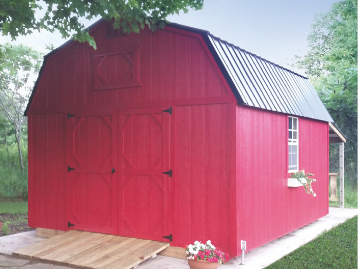 red painted lofted barn