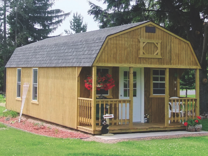 lofted cabin with shingled roof
