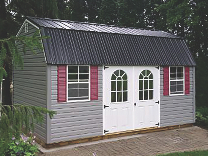 vinyl sided lofted garden shed with metal roof