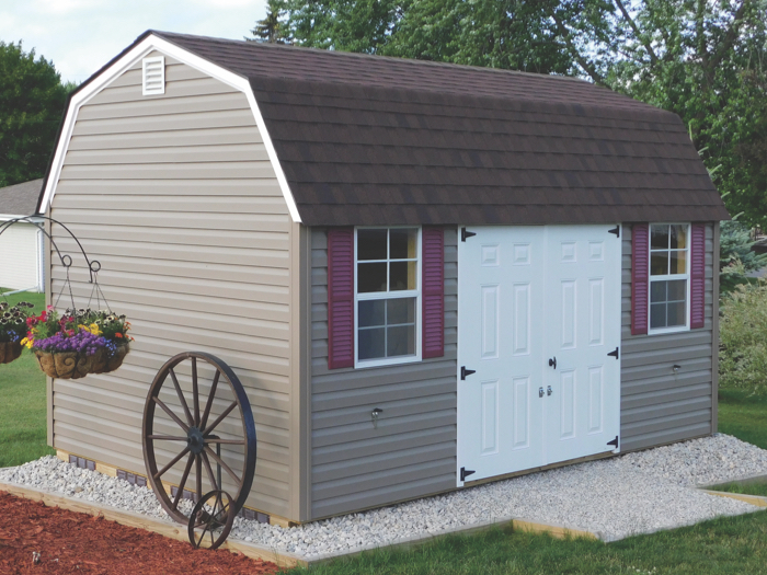 vinyl sided lofted garden shed